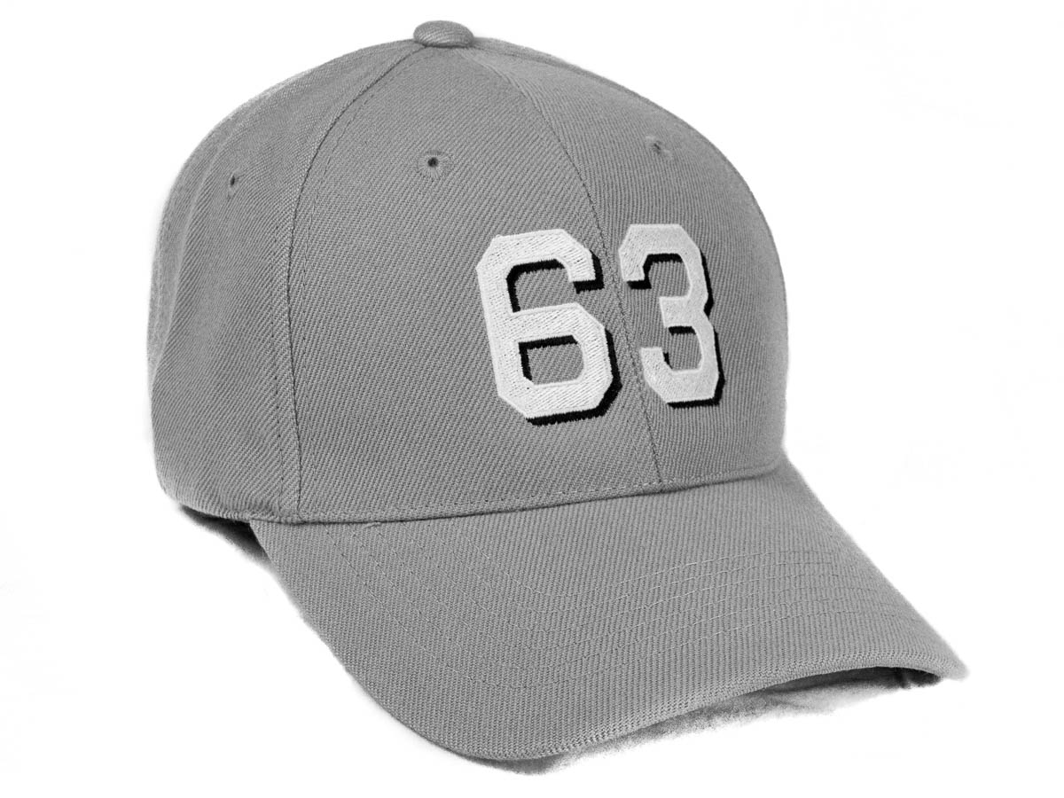 6 panel wool blend cap in gray with block font with drop shadow hull number  63 3e57a4fbc02