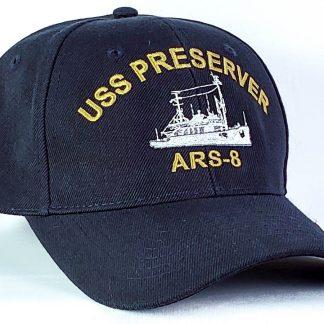 Wool blend ball navy blue ball cap for USS Preserver