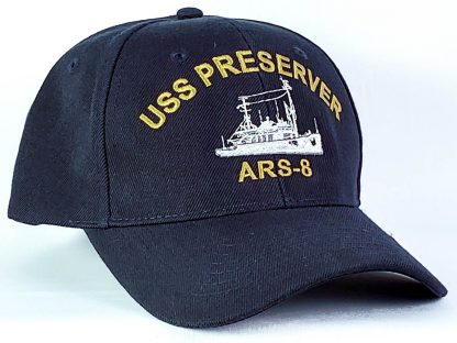 Wool blend ball navy blue ball cap for USS Preserver