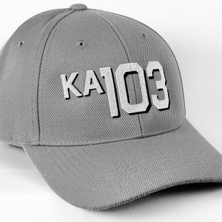 6 panel wool blend cap in gray with block font with drop shadow ka103